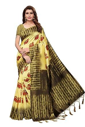 3b84ef2202 IndoPrimo Women's Art Silk Saree with Blouse Piece (Lemon): Amazon ...