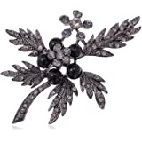 Alilang Gunmetal Tone Dark and Dreary Grey Berry Twig and Leaves Fashion Pin Brooch