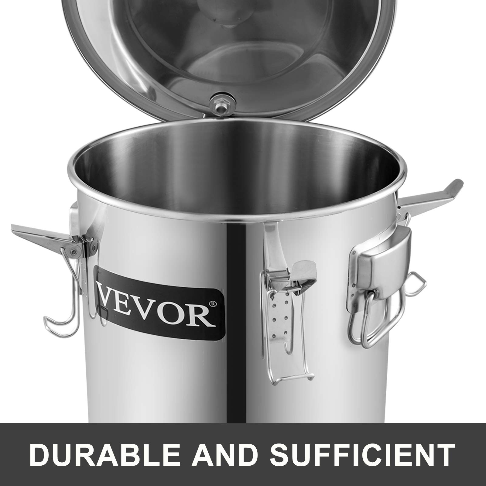 VEVOR Moonshine Still 5 Gal 21L Stainless Steel Water Alcohol Distiller Copper Tube Home Brewing Kit Build-in Thermometer for DIY Whisky Wine Brandy, 3 pots by VEVOR (Image #3)