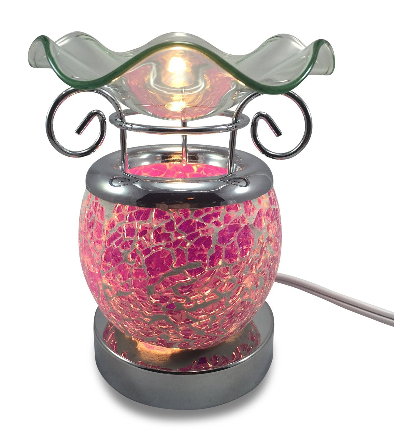 Decorative Touch Sensitive Mosaic Cracled Electric Plug-in Fragrance Lamp Aromatherapy Oil Warmer/Burner in Gift Box (White Glow) (Pink)