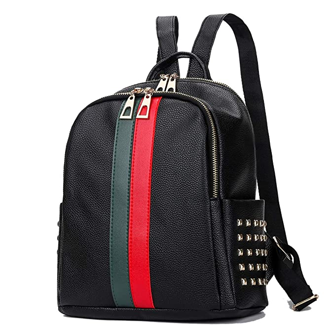 1debf6b1931 Amazon.com  Mini Cute Backpack Leparvi Girly Leather Day Packing Teen  Satchel Luxury Designer Women Tote Bag Ladies Work Rucksack(Red-green)   Clothing