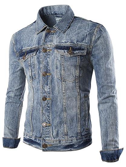 43c5aaabc9f5 MatchLife Herren Jeansjacke Baumwolle Mantel Style1 Hellblau L  Amazon.de   Bekleidung