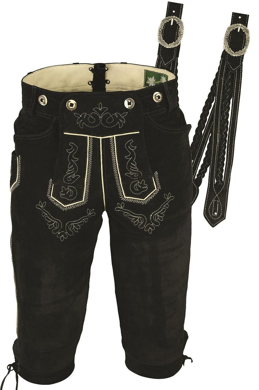 Trachtenlederhose Herren- Damen Kniebundlederhose -Trachten Lederhose mit Träger in Schwarz- Trachtenhose Knielang aus echt Leder Velours