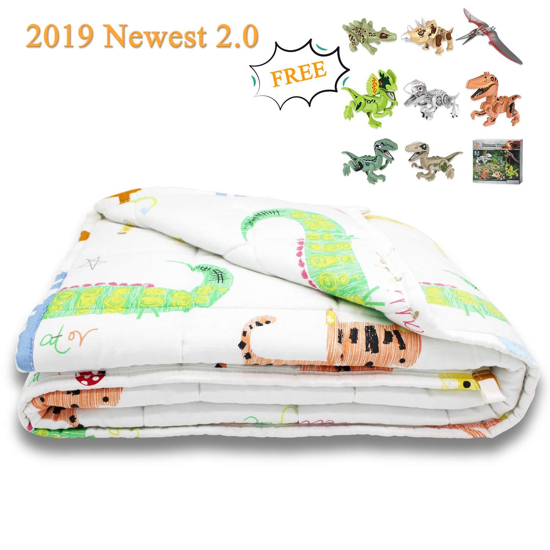 TerriTrophy Weighted Blanket for Kids Plus Dinosaur Set Newest 4.0 Version Heavy Blanket Perfect for Boys Girls Children