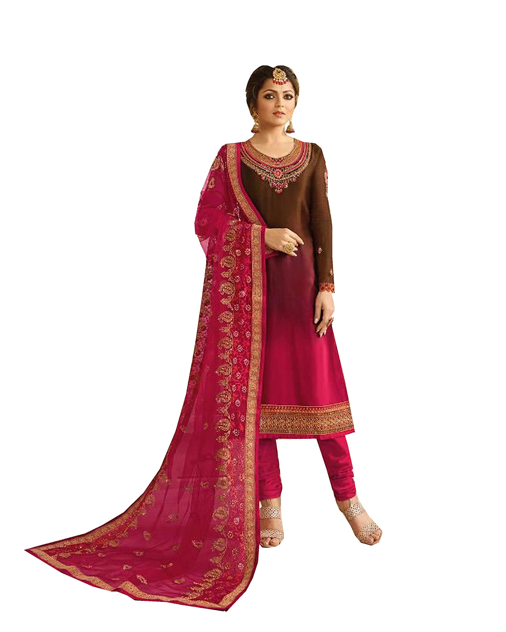Delisa Indian Wear Straight Salwar Kameez Party Wear Timeless (Multi, MEDIUM-40)