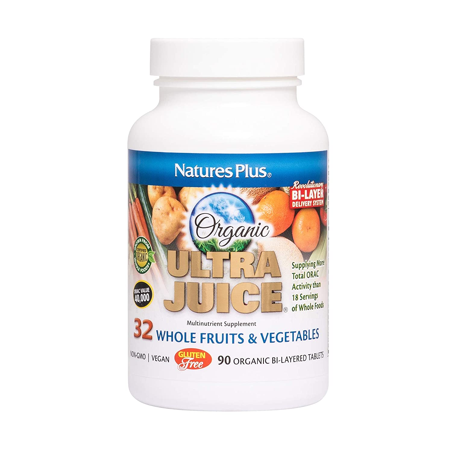 NaturesPlus Ultra Juice Multivitamin – 90 Vegetarian Tablets, Bilayered – Whole Food Supplement – Whole Fruits Vegetables, Antioxidant – Non-GMO, Vegan, Organic, Gluten-Free – 45 Servings