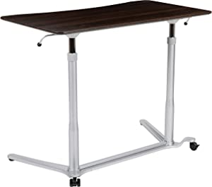 "Flash Furniture Sit-Down, Stand-Up Dark Wood Grain Computer Ergonomic Desk with 37.375""W Top (Adjustable Range 29"" - 40.75"")"