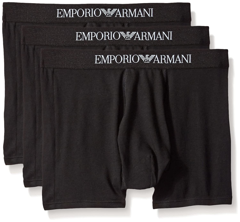 (エンポリオアルマーニ) EMPORIO ARMANI コットン ボクサートランクス 3枚組 B01FUW48L4 Medium ニューブラック ニューブラック Medium