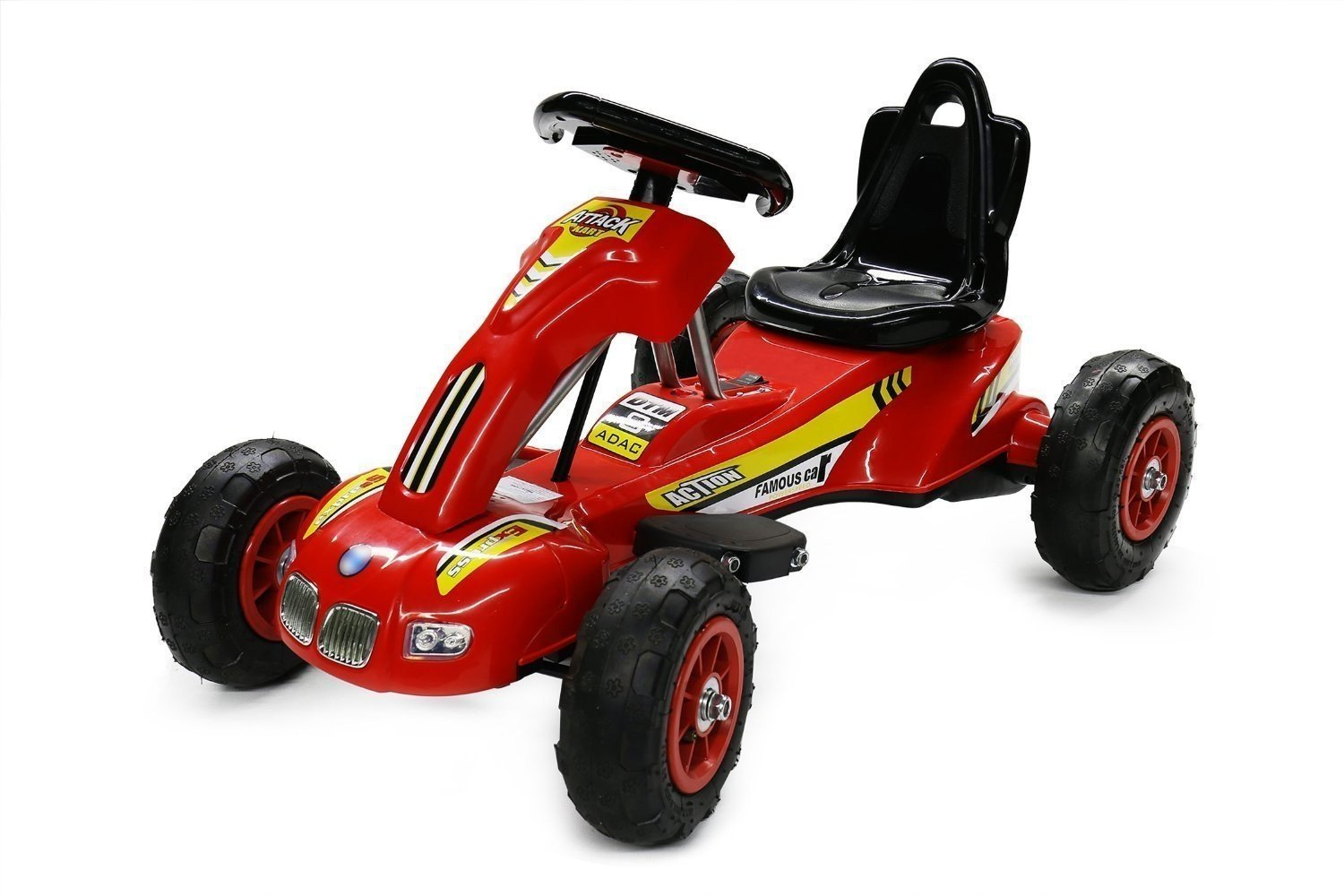RideonToys4u 6V Electric Attack Kart With Air Rubber Wheels 3KM/H Red Ages 3-8
