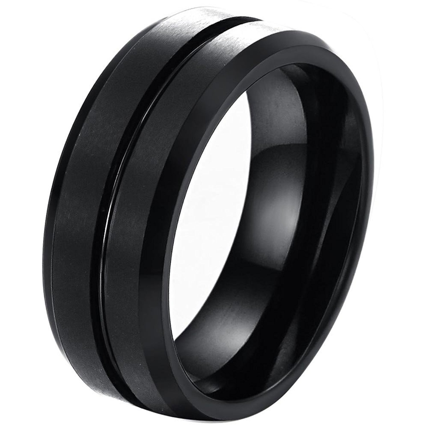 OUBEY Mens 8mm Polished Edge/ Matte Brushed Finish Grooved Center Tungsten Ring Wedding Band Black