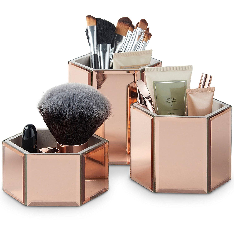 Botes Hexagonales de Cristal Espejado Beautify para Maquillaje, Brochas, Joyas y Accesorios – Set de 3 incluye Paño de Limpieza de Cristal Others