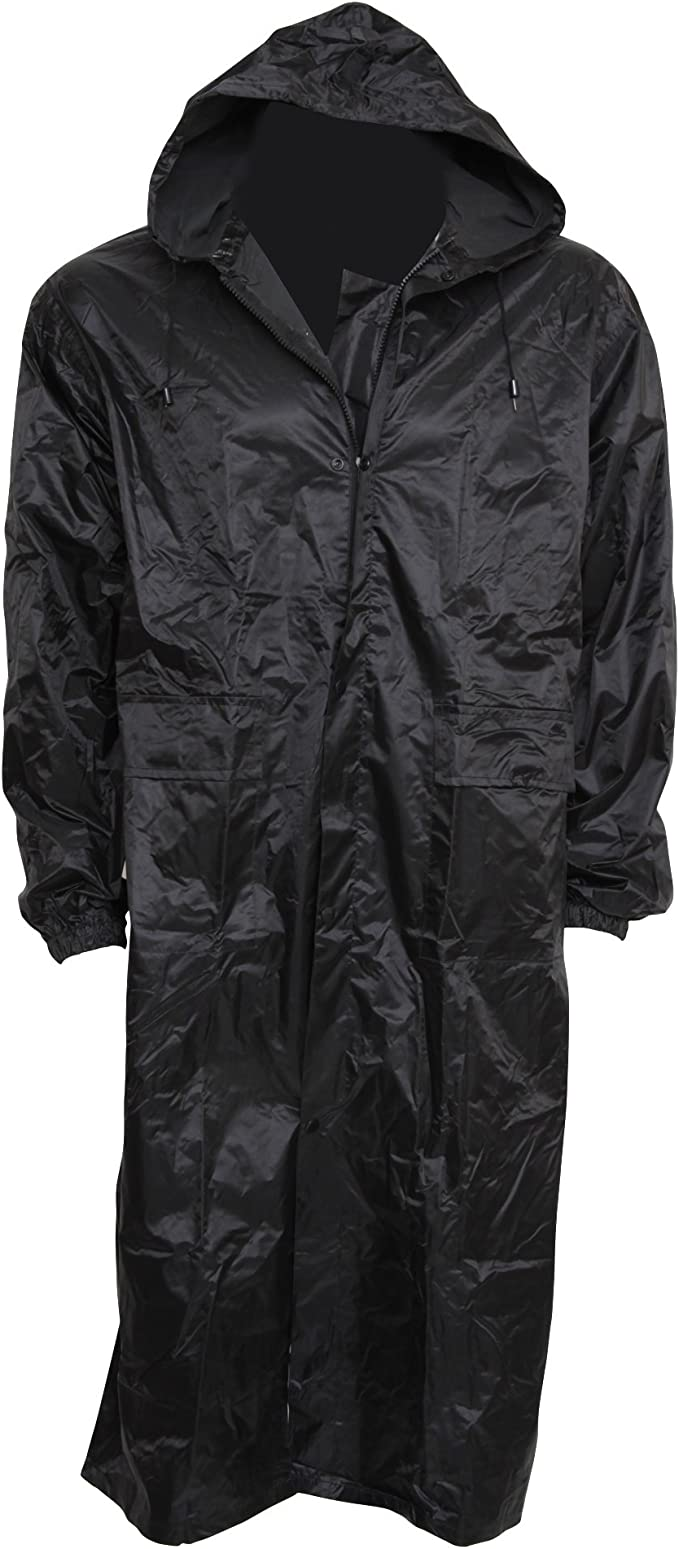 MENS WOMENS UNISEX LONG HOODED RAIN COAT WATERPROOF KAGOOL RAIN MAC COAT JACKET