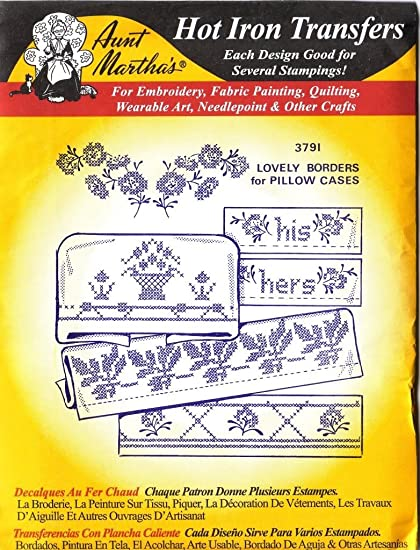 Encantador fronteras para fundas de almohada tía Martha hierro caliente del bordado de punto de cruz