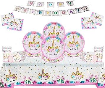 Unicornio Artículos de Fiesta Cumpleaños para niños Fiesta desechable Juego de 50 Piezas Platos Tazas Servilletas Mantel Papel Banner-Servir 16 ...