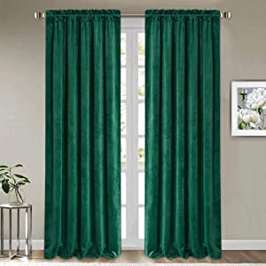 StangH Thick Velvet Curtains Green - Luxury Home Decor Blackout Insulated Velvet Curtain Panels Extra Long Wall Backdrops for Living Room Sliding Glass Door, Green, W52 x L108-inch, 2 Pieces
