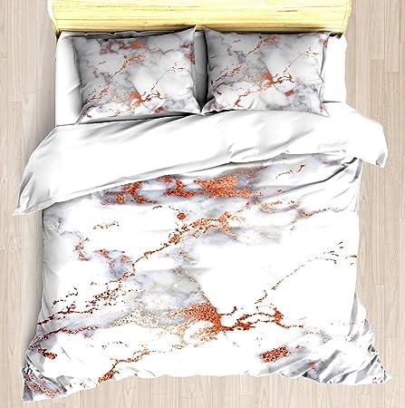 fd43e1575c561 KJHJK Rose Gold Glitter White Marble - Duvet Cover Set Soft Comforter Cover  Pillowcase Bed Set