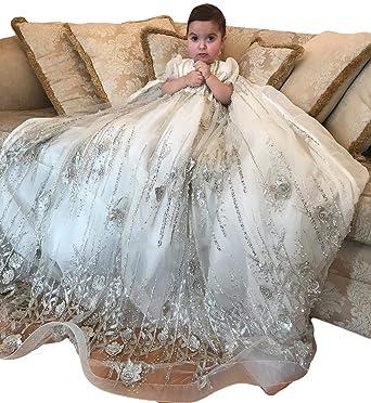 c06aba6e7 ShineGown - Ropa de Bautizo - para bebé niña Blanco Blanco 9-12 Meses   Amazon.es  Ropa y accesorios