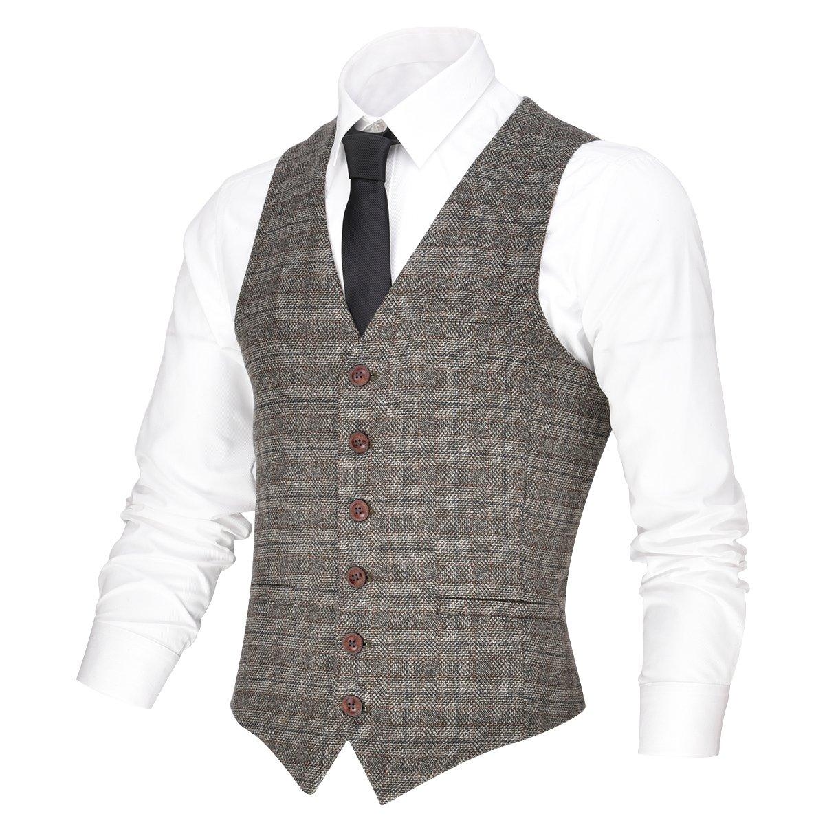 VOBOOM Men's V-Neck Suit Vest Casual Slim Fit Dress 6 Button Vest Waistcoat (Brown, L) by VOBOOM