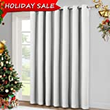 "Vertical Blinds for Sling Door Window - Silver Grommet Top Blackout Curtains, Privacy Blinds for Patio,Extra Wide Drapes by NICETOWN (Greyish White, W100"" x L84"")"