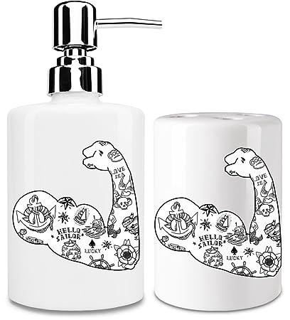Sailor tatuaje blanco dispensador de jabón líquido y vaso para cepillo de dientes set| añadir
