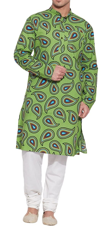Shaliindia Men Cotton Long Kurta Nehru Collar 3 pockets,Green M-CLK48-1026 Size-48 Inch Swayam SN-M-CLK48-1026