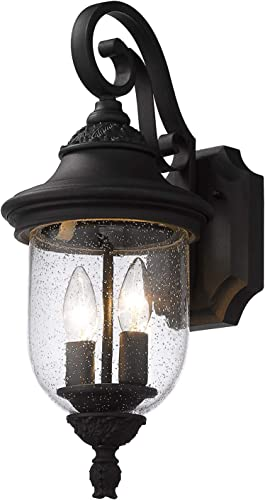 Emliviar 18.5 Inch Outdoor Wall Lights for House, Vintage Outdoor Wall Lantern in Black Finish with Seeded Glass, DE19104B1 BK