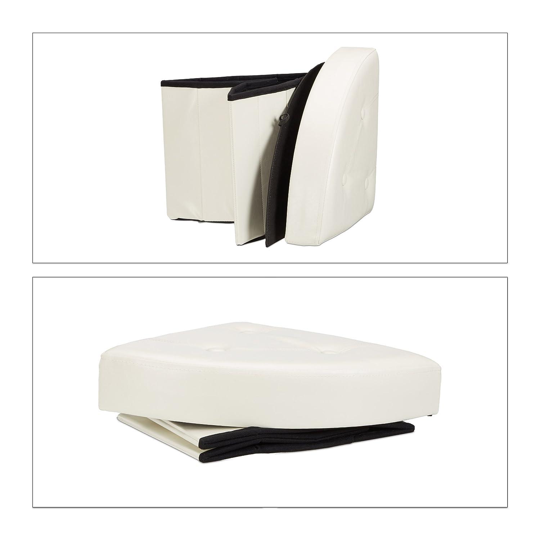 Noir Relaxdays Tabouret avec Rangement Pouf Pliant Pliable rembourr/é Couvercle Repose-Pieds HxlxP 38 x 38 x 38 cm
