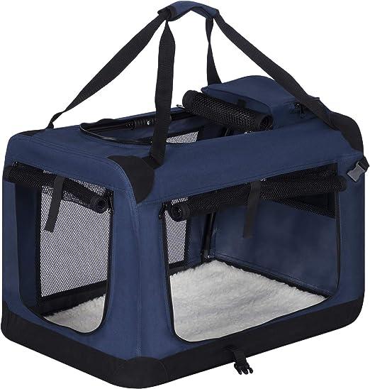 EUGAD Bolsa de Transporte para Mascotas Transportín de Mascotas Perros Gato Plegable para Coche Viaje Avion con Cojín Acolchada, M/60x42x42 cm Azul Clasico 0314HT: Amazon.es: Productos para mascotas
