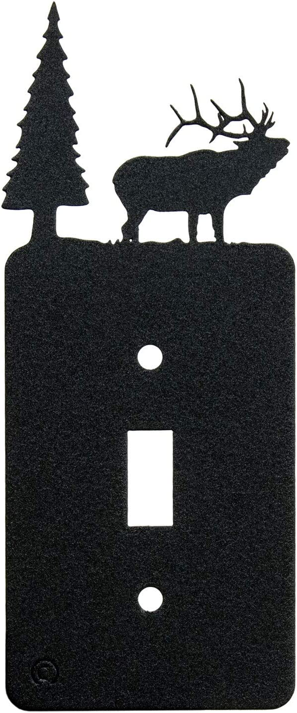 Elk & Cabin Toggle Light Switch Wall Plate (Single Toggle, Black)