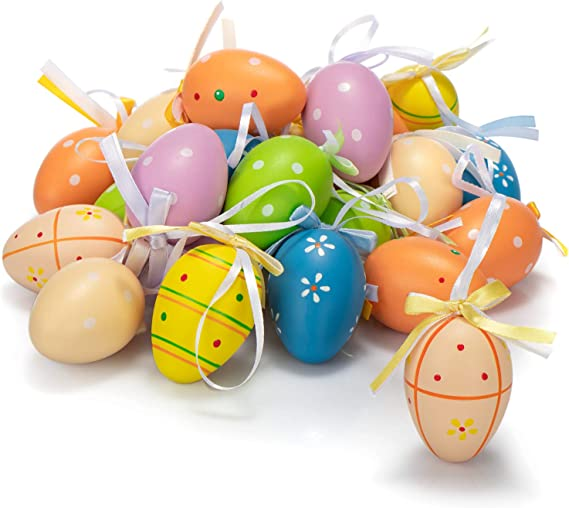 Imagen decom-four® 24x Huevos de Pascua Pintados a Mano para Colgar - Decoración de Pascua con Excelentes diseños - Huevos de Pascua en Diferentes tamaños - tamaño: 6 cm