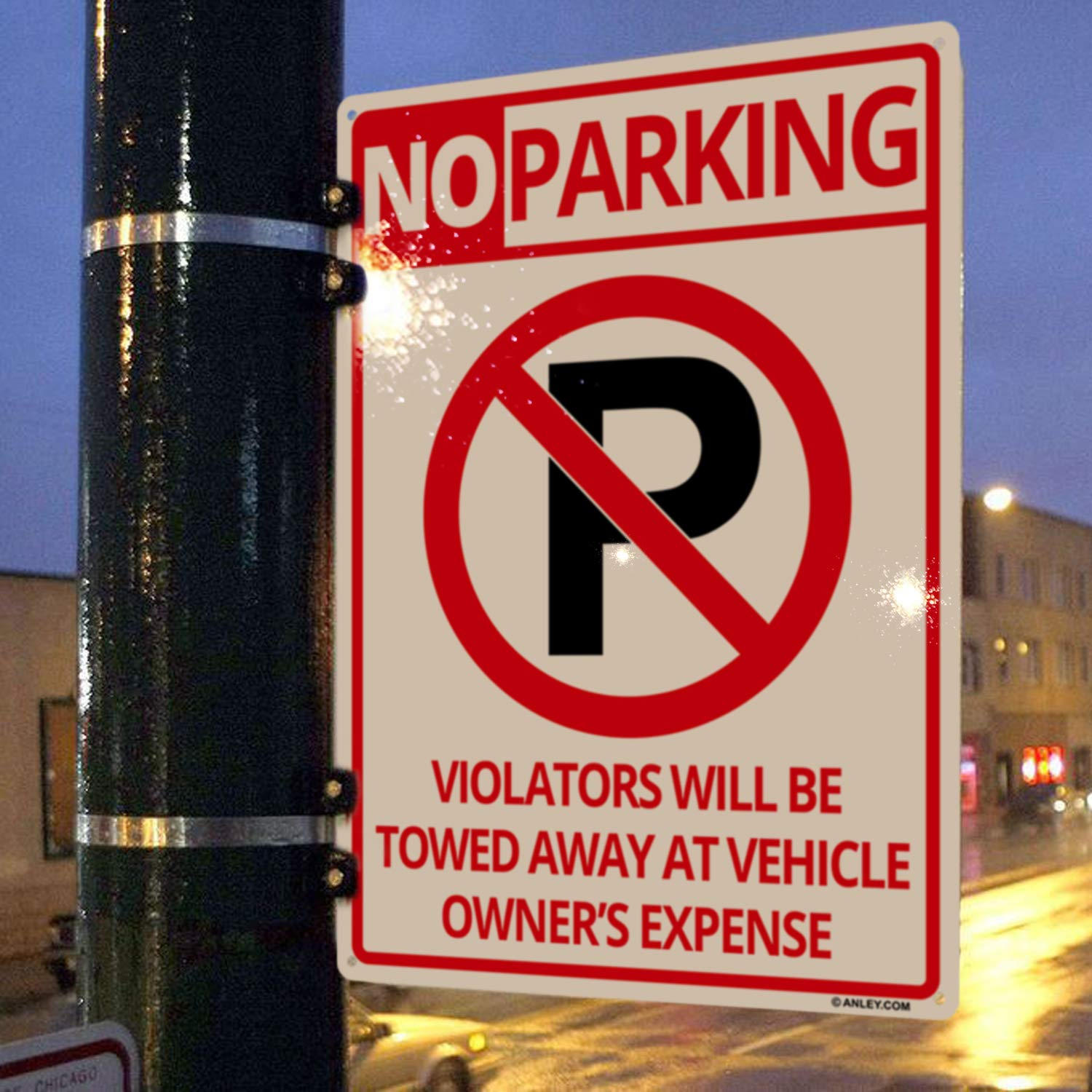Easy Mounting ANLEY No Parking Sign 14 X 10 in Violators Will Be Towed Away at Vehicle Owners Expense Metal Warning Sign Outdoor Use 40 Mil Thick Rust-Free Weatherproof Aluminum