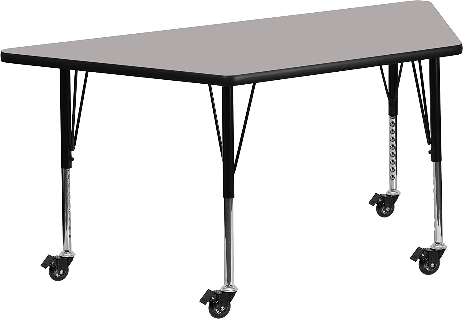 Flash Furniture Mobile 29.5''W x 57.25''L Trapezoid Grey HP Laminate Activity Table - Height Adjustable Short Legs