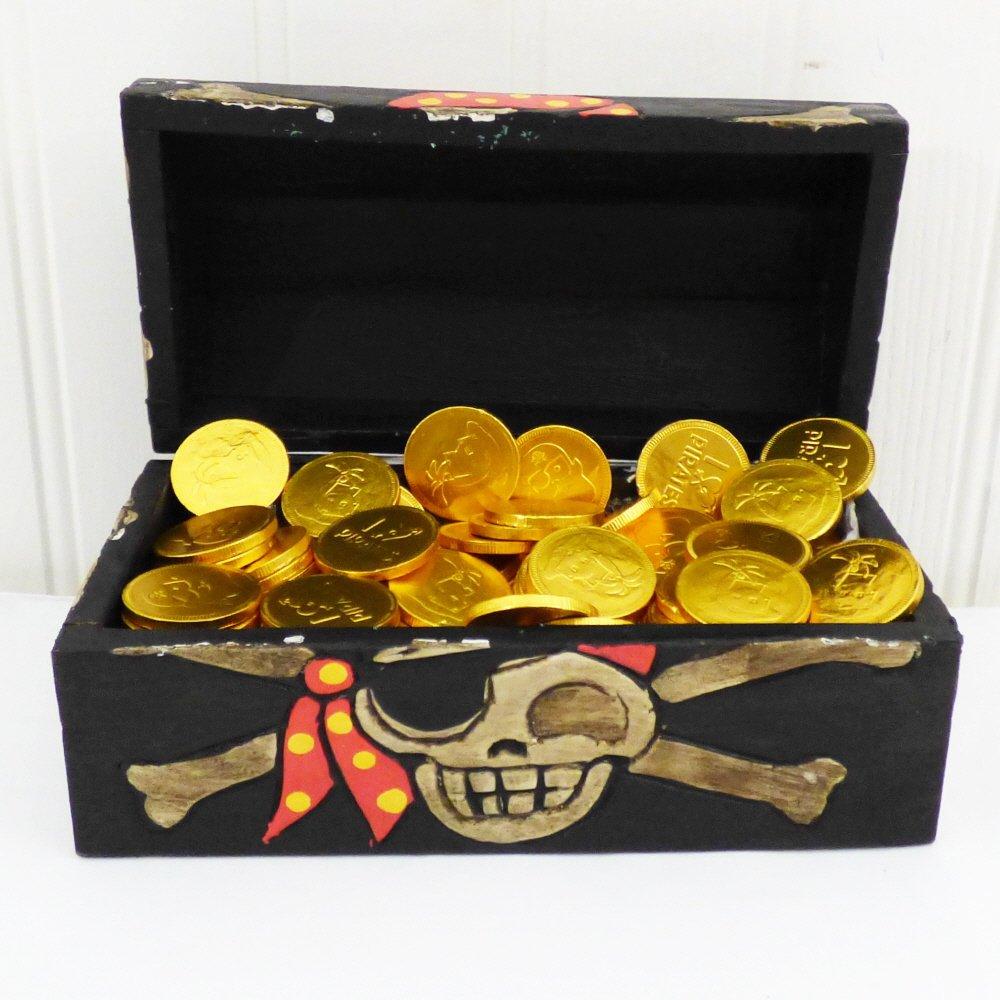 Las monedas de chocolate tratan la caja de regalo del pirata regalo de cumplea/ños perfecto para los muchachos y las muchachas