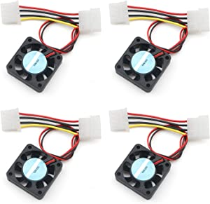 4 Pcs 40mm Dual Ball Bearing 12V 4-Pin Brushless DC Mini Cooling Fan 4010B 40x10mm