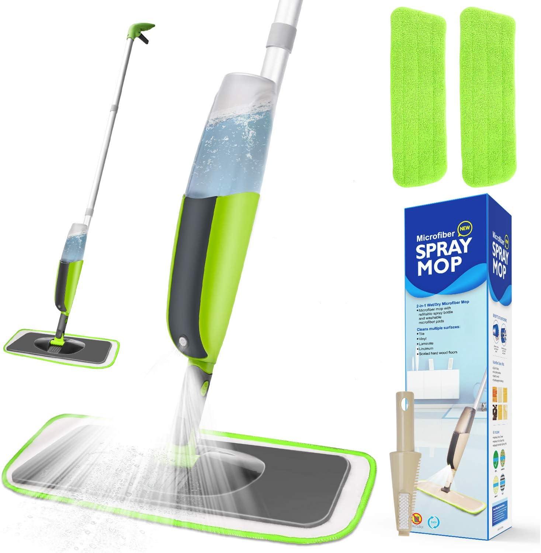 Spray Mop, Winpok Mopa con Pulverizador y Función de Pulverización Para una Limpieza Rápida, Mopa con Pulverizador, Limpiador con Depósito de Agua y 2 Fundas de Microfibra