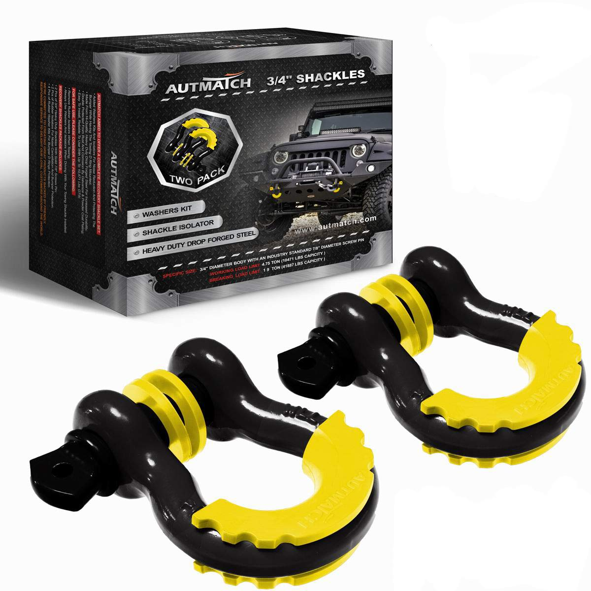 AUTMATCH Shackles 3/4'' D Ring Shackle (2 Pack) 41,887Ib Break Strength with 7/8'' Screw Pin and Shackle Isolator & Washers Kit for Tow Strap Winch Off Road Towing Jeep Vehicle Recovery Black & Yellow