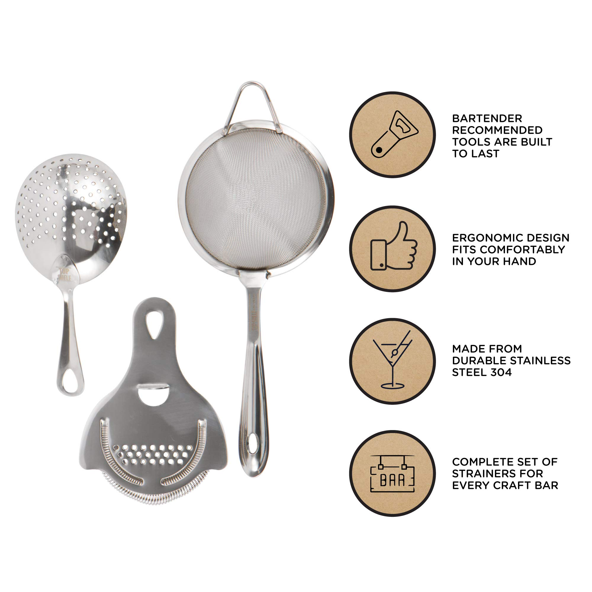 Cocktail Strainer Set: Stainless Steel Hawthorne Strainer, Julep Strainer and Conical Fine-Mesh Strainer by Top Shelf Bar Supply by Top Shelf Bar Supply (Image #2)