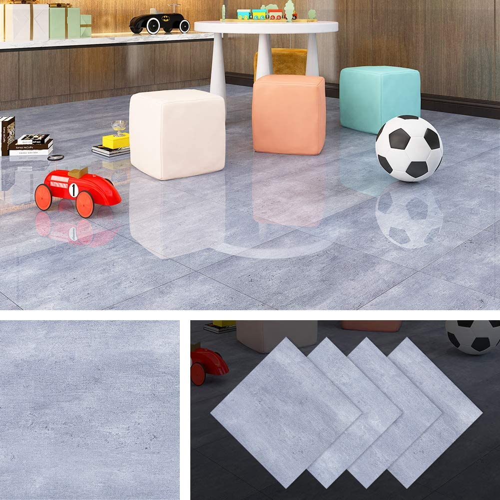 Livelynine Peel and Stick Floor Tile Granite Floor Tiles Vinyl Flooring Tile Adhesive Vinyl Tiles 12x12 Inch 4 Pack Waterproof Flooring Stickers Gym Floor Bedroom Kitchen Bathroom