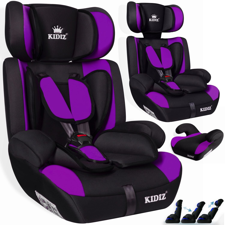KIDIS® Autokindersitz Kinderautositz Sportsline Gruppe 1+2+3 | 9-36 kg Autositz Kindersitz | Stabil und Sicher | Farbe Lila KIDIZ