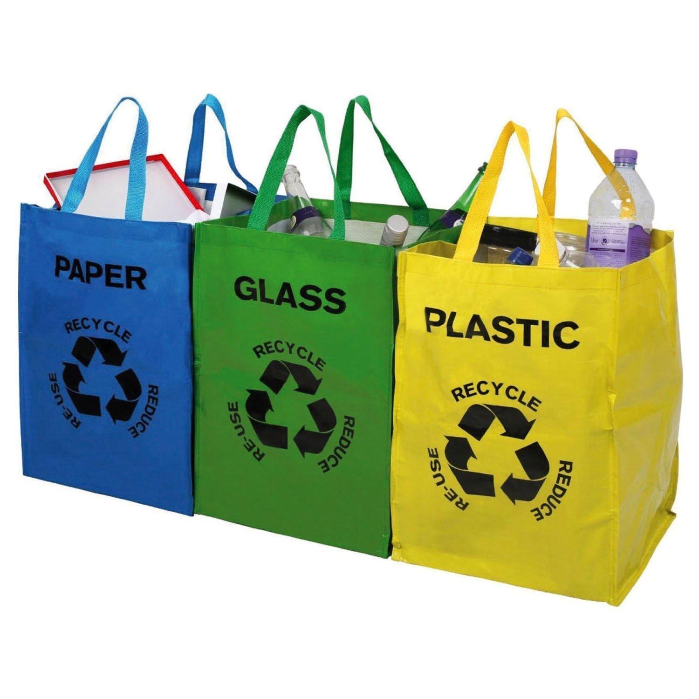 Juego de 3 bolsas de basura para reciclar vidrio, plástico y papel ...