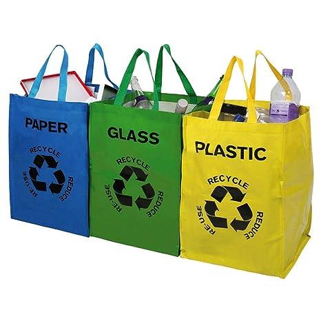 Juego de 3 bolsas de basura para reciclar vidrio, plástico y papel