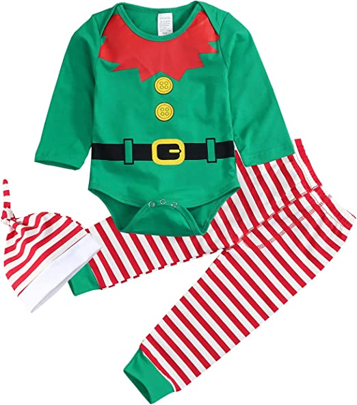 Xmas Infant Newborn Baby Girls Boys Christmas Elk Romper Bodysuit Outfit Clothes