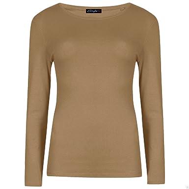 616d66a1d56 New Womens Long Sleeve Round Neck Plain Basic Ladies Stretch T-Shirt Top  Mocha-16-18  Amazon.co.uk  Clothing