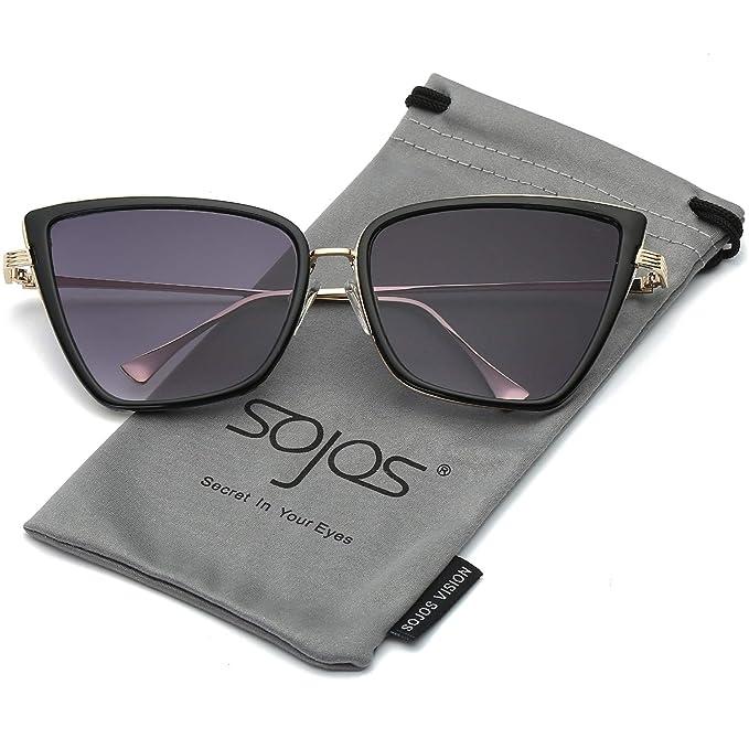SOJOS Gafas De Sol Mujer Ojo De Gato Moda Rectangulares Vintage Retro  Eyewear SJ1081 Marco Dorado Negro a34c73e0016b