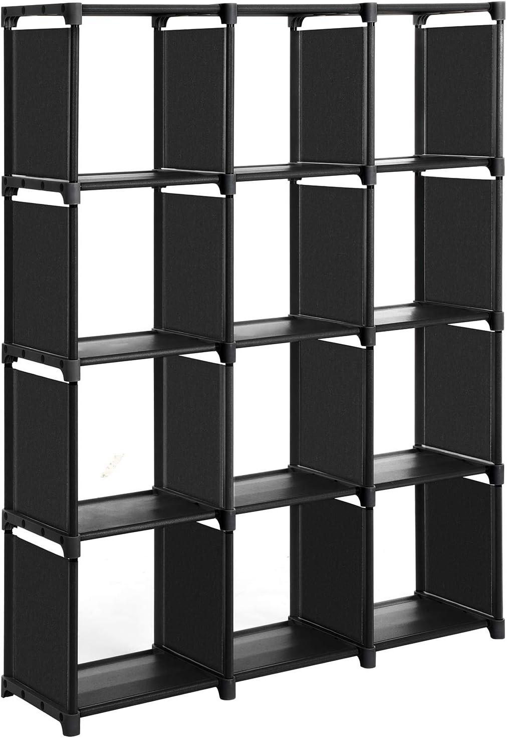 SONGMICS Cubos de Almacenamiento, Librería con 12 Compartimentos, Armario Modular, para Salón, Dormitorio, Baño, 105 x 30 x 140 cm, Martillo de Goma Incluido, Negro LSN12BK