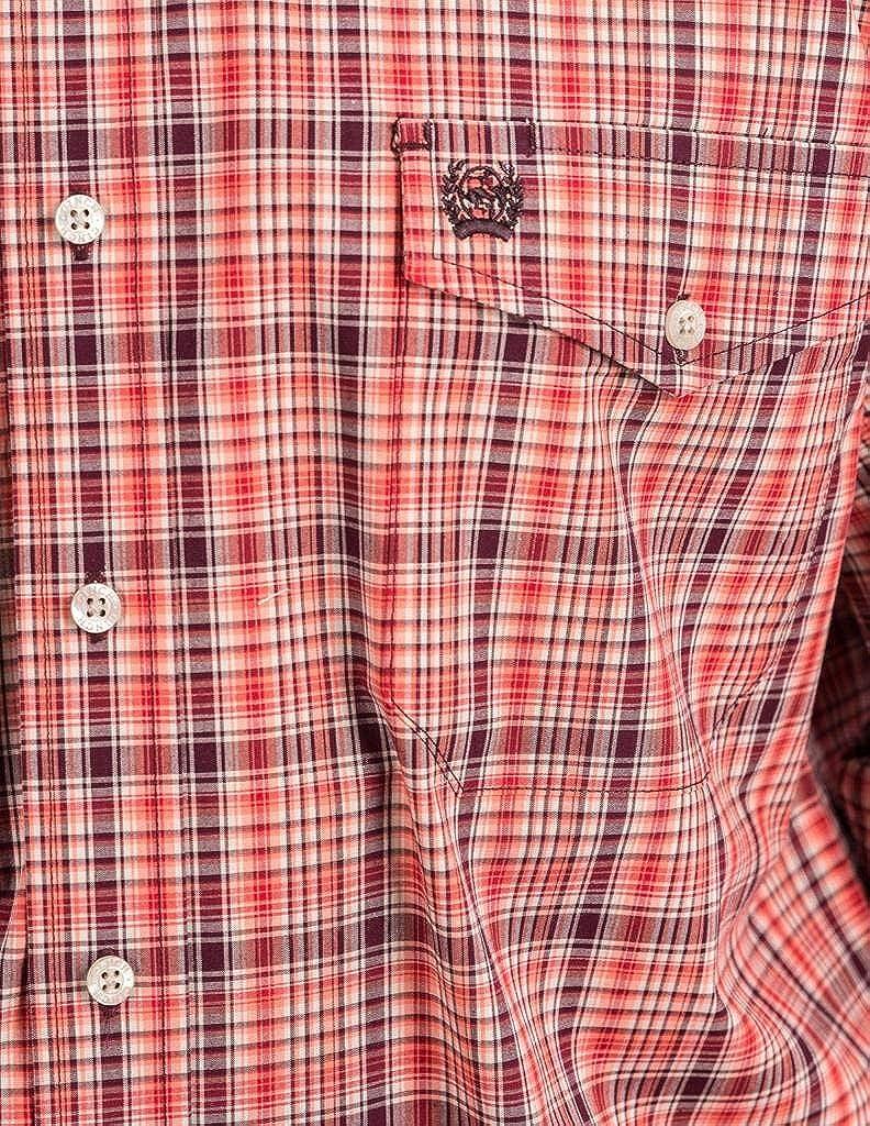 Cinch Mens Classic Fit Long Sleeve Button Two Flap Pocket Plaid Shirt