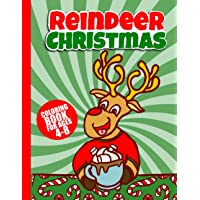 Image for Christmas Reindeer Coloring Book: 50 Unique Holiday Pictures To Color for Toddlers & Kids | 8.5 by 11 | Large Print