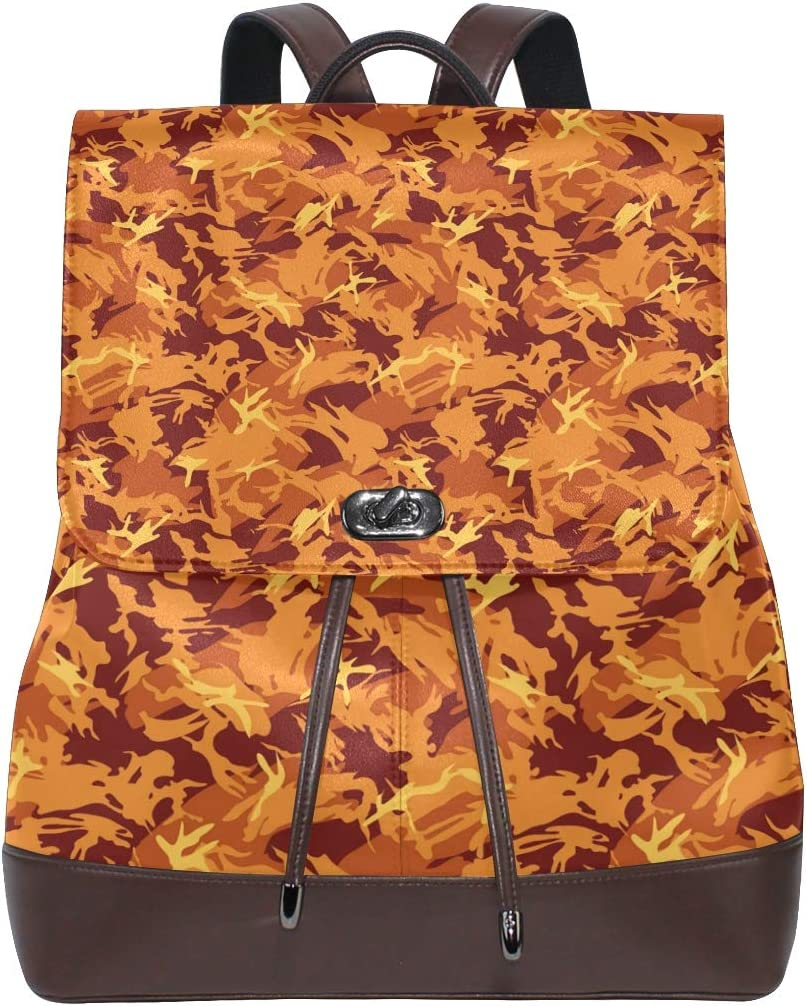 Unisex PU Leather Backpack Orange Fire Camo Red Print Womens Casual Daypack Mens Travel Sports Bag Boys College Bookbag