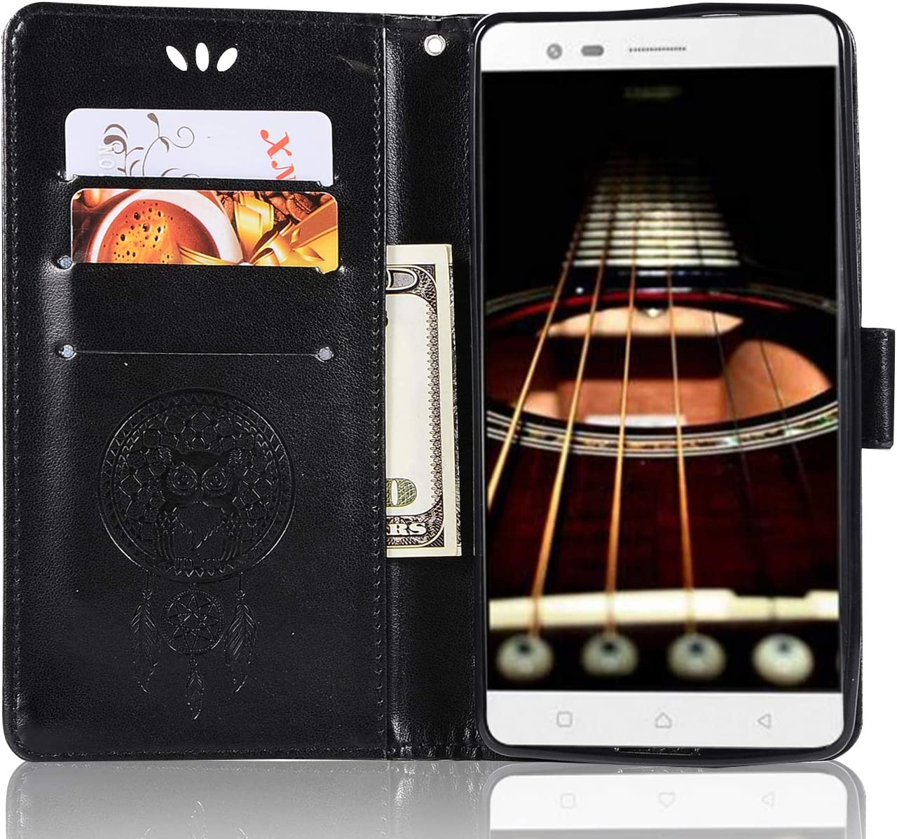 Lenovo K5 Note Leather Case, Lenovo Vibe K5 Note Pro Wallet Case, PU Leather Embossed Floral Flip Case with Credit Card Holder for 5.5'' Lenovo K5 Note, Lenovo Vibe K5 Note Pro