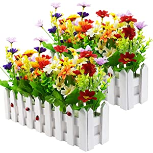 XONOR Artificial Flower Plants - Roses and Rosebuds in Picket Fence Pot for Indoor Outdoor Office Garden Wedding Home Decor (2 Sets, Daisy)